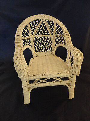 "Vintage White Wicker Doll Chair - Measures 13"" High -"