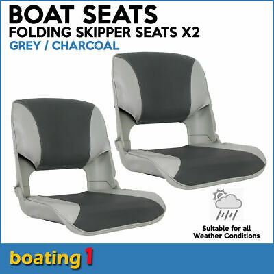 2 Premium Folding Skipper Boat Seats Marine All Weather Grey/Charcoal