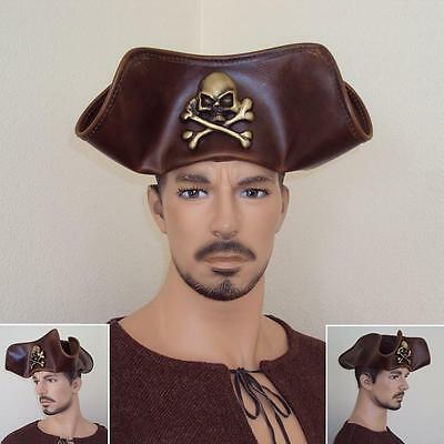 Skull & Crossbones Brown Leather Pirate Tricorn Hat. Re-enactment Stage Costume