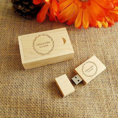 Custom Engraving Walnut Wood USB Flash Drive & Box, Wedding USB, Wedding Gifts