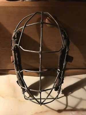 Vintage Metal Wire & Leather Baseball Catchers Mask   Antique Old Baseball