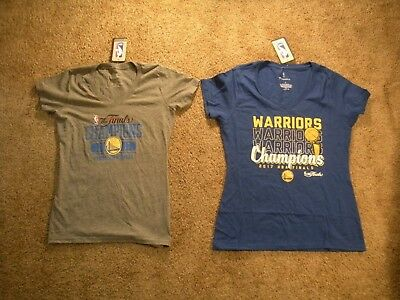 Lot of 2 Used Size Small Golden State Warriors NBA '17 Champions Womens T-Shirts