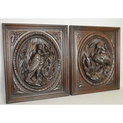 Stunning Antique Pair Carved Oak Wood French Hunt Wall Plaque Game Bird Panels!!