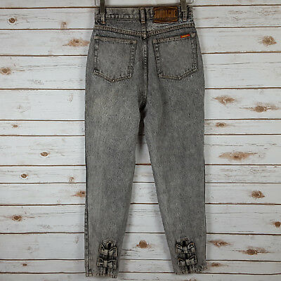 Vintage 80s 90s Jordache Acid Wash Jeans 9 10 Ankle Bows High Waisted Black Gray
