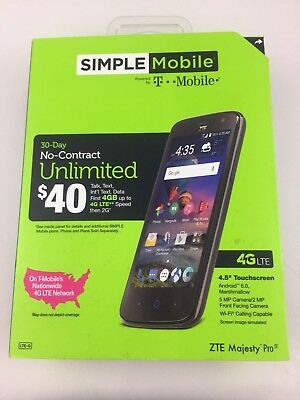 BRAND NEW! SIMPLE Mobile ZTE Majesty Pro 4G LTE Prepaid Android Smartphone