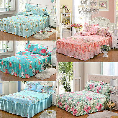 Romantic Soft Bed Skirt Pillow Cases Set Coverlet Bedspread Tein Full Queen King