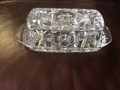 1930's Glass Butter Dish. Antique and beautiful