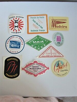 Vtg Portugal Luggage Labels Lot of 10 Hotels Capital Madeira Lutecia 1 Frankfurt