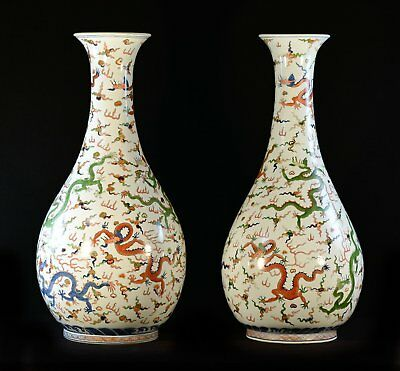 A Pair of Monumental Chinese Doucai Vases