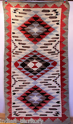 """Large Navajo Rug: Klagatoh with Feathers, Blue/Red/Black/Gray c.1920s 43"""" x 83"""""""