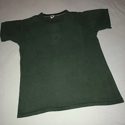 Vintage 1960s/1970s Russell Athletic Black Dark Green T-Shirt Large 60s 70s