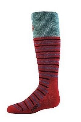 POINT6 Kids Ski Midcushion Stripe MERINO WOOL OTC Socks Size SMALL RED/OCEAN