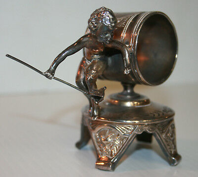 Victorian Silver Plated Napkin Ring Young Boy Hunts w/Net F. B. Rogers #210