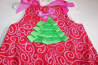 Mud Pie Baby Girl Christmas Romper 0-6 Mo Bows Christmas Tree 100 Cotton Nwt New
