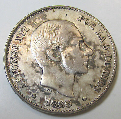 1885 50 Centimos Silver Coin, Alfonso Xii, Philippines Colonial Spanish, Km-150