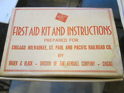 Vintage Chicago Milwaukee St Paul & Pacific Railroad First Aid Kit lot S