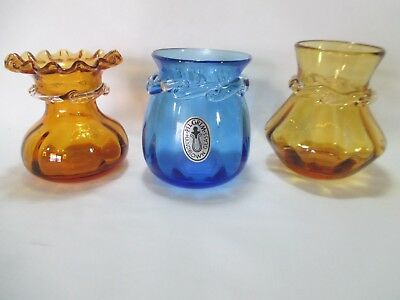 3 Vintage Pilgrim Glass Vase w/ Rigare Clear Glass Collar / 2 Amber 1 Blue Label