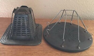 TWO Antique 4 Slice Campfire Cook Stove Toasters Vintage Cabin Decor