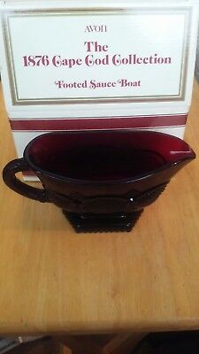 Avon 1876 Cape Cod Collection Ruby Red Footed Sauce Gravy Boat New in Box