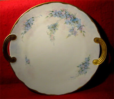 Vintage Handpainted Handled Cake Plate Forget-Me-Not Signed M.hall Gold Trim