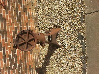 "Antique Cast Iron Rustic BUTTER CHURN on original stand  41"" tall"