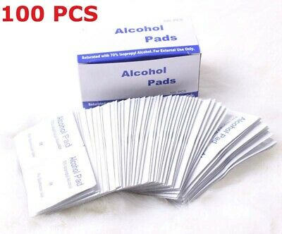 100Pcs 70% Isopropy Alcohol Prep Pads External Use Antiseptic Wipes Home Travel