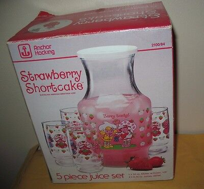 RARE Vintage Fire King Anchor Hocking Strawberry Shortcake Juice Set Decanter
