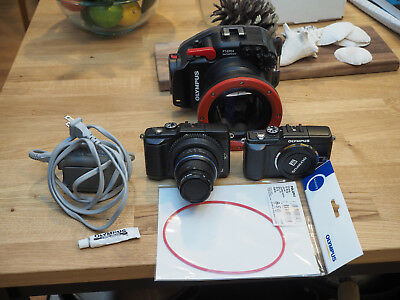 Olympus underwater E-PL2 setup PT-EP03 housing and 2 cameras and lens Micro 43
