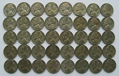 40 Jefferson War Nickels 35% Silver all 1945-P ($2 face 1 roll circulated coins)