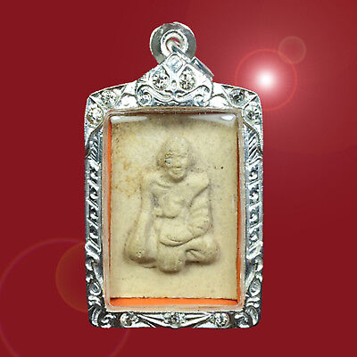 Old Phra LP Suk Wat NongKand Thai Buddha Amulet Case Silver Plated Strong Lucky