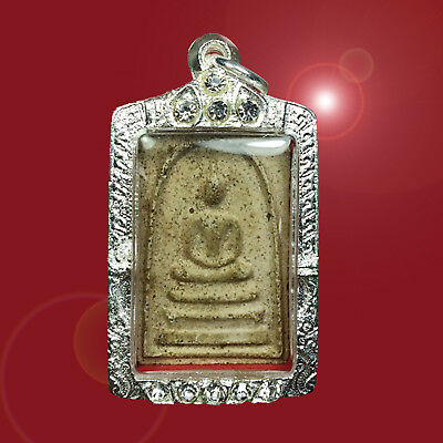 Old Thai Buddha Amulet Case Silver Plated Strong Phra Somdej Toh Wat Rakhang Yai