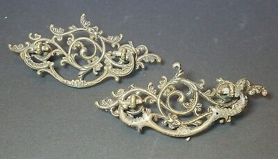 Antique Set of 2 Victorian Pierced Cast Drawer Handle Pulls Hardware