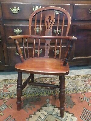 Beautiful 19Th C Children's Yorkshire Country Splat Back Windsor Arm Chair
