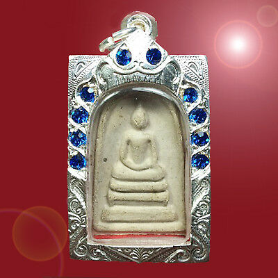 Old Thai Buddha Amulet Phra Somdej Toh Case Silver jewelry Lucky Protect SD004