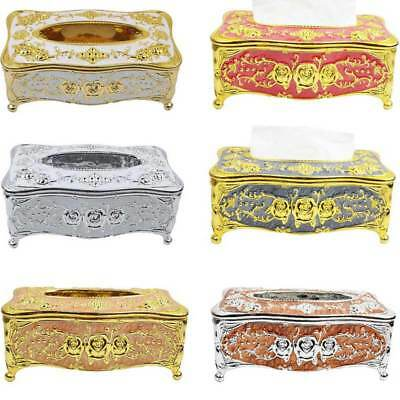 Luxury Gold Tissue Box Cover Chic Napkin Case Holder Hotel Home Decor Organizer