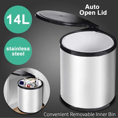 14L Kitchen Swing Pull Out Bin Stainless Steel Rubbish Waste Trash Can Cupboard