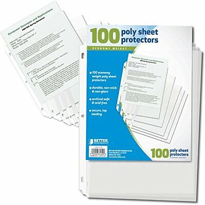 100pcs Clear Plastic Poly Sheet Page Protectors Sleeves for Documents Paper