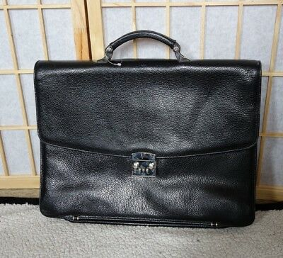 I Santi Black Pebbled Leather Briefcase Compartment Organizer Handbag Italy Vtg