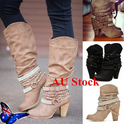 AU Womens Rivet Ankle Boots Pointed Toe Buckle Strap Causal Low Block Heel Shoes