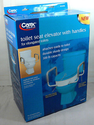 New Never Used Carex Elevated Elongated Toilet Seat with Handles, #B316-00