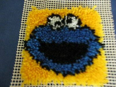 """Sesame Street Cookie Monster Latch Hook Rug~Completed~Wall Hanging or Pillow~ 7"""""""
