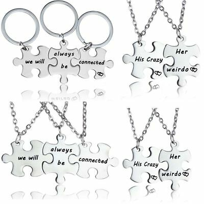 Puzzle Piece Pendant Necklace Keyring Jewellery Set Best Friends Gifts Presents