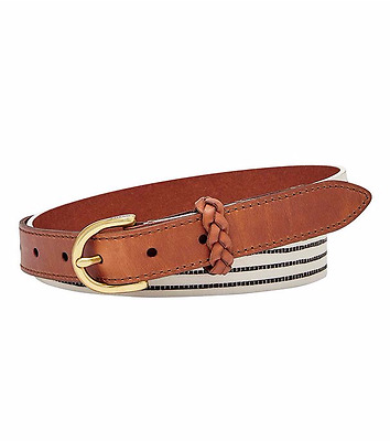 NEW! Fossil Women's Striped Leather Printed Belt Size Large