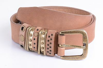 Calvin Klein Studded Loops Pant Belt Tan - Small