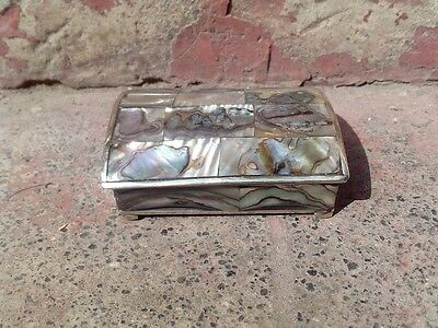Mexican art craft, alpacca and abalone shell jewelry box