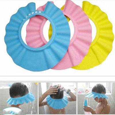 UK Baby Children Kids Safe Shampoo Bath Bathing Shower Cap Hat Wash Hair Shield
