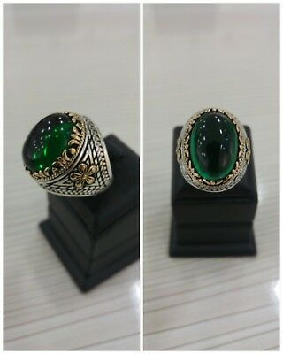 Handcraft 925 Sterling Silver Jewelry Emerald Gemstone Men's  Ring