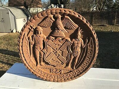 New York City West Side Highway Architectural Cast Iron Seal Of New York Plaque