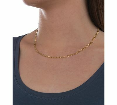 Polymer Protected 18K Gold Plated Chain Figaro Necklace Men/'s Christmas Gift