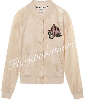 New Victoria's Secret PINK Satin Bomber Jacket Champagne Beige Nude Cuctus L NWT